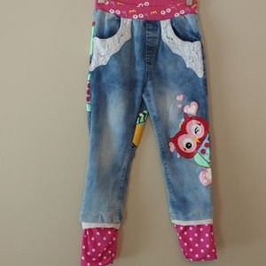 Rockin Style owl decorated girls jeans Size 5t-6t